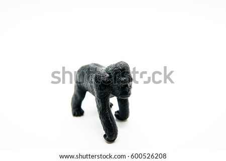 Gorilla animal Toy made of plastic on a white background #600526208