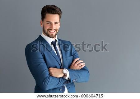 Elegant handsome male model posing with smile