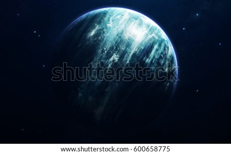 Neptune - planets of the Solar system in high quality. Science wallpaper. Elements furnished by NASA