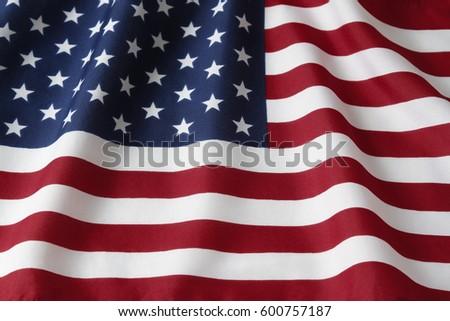 Closeup of rippled American flag #600757187
