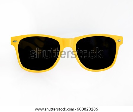 Yellow Sunglasses white backgound Royalty-Free Stock Photo #600820286