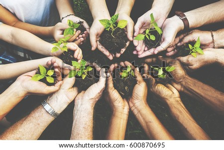 Group of environmental conservation people hands planting in aerial view #600870695