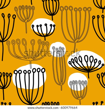 Background with dandelion. Seamless pattern with blowballl. Black and white abstract pattern. Scandinavian style. #600979664