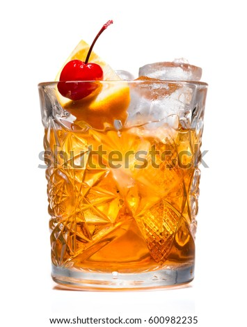 closeup of Cocktail old fashion Royalty-Free Stock Photo #600982235