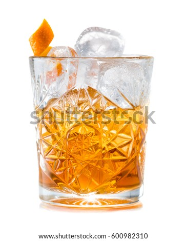Cocktail godfather isolated on white background Royalty-Free Stock Photo #600982310