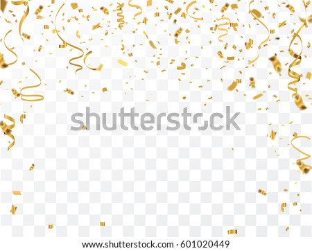 Gold confetti celebration. Royalty-Free Stock Photo #601020449