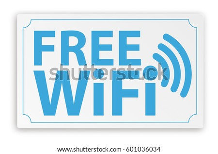 Paper sign with text Free WiFi. Eps 10 vector file.