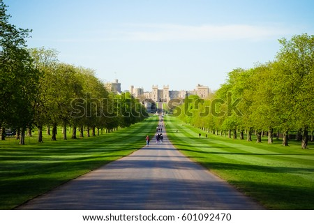 Windsor castle, London England uk, view from the green long garden in sunny day