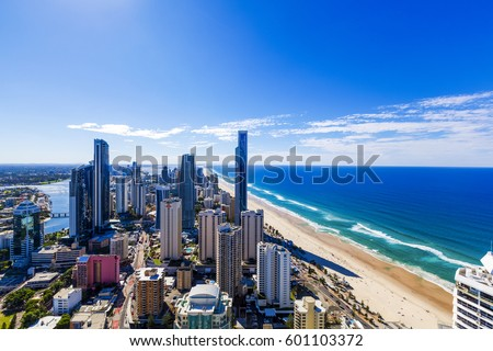 Sunny view of Surfers Paradise on Gold Coast, Queensland, Australia #601103372
