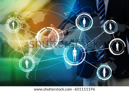 worldwide business network concept, social networking service, abstract image visual