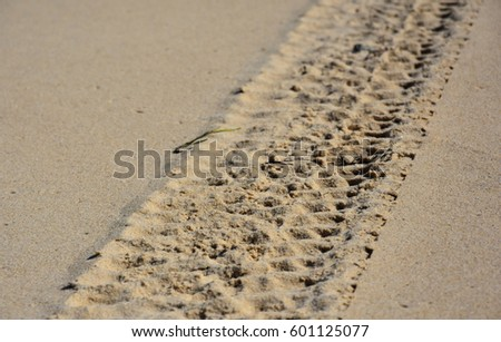 Wheel track in the sand texture. Coast beach sand surface car wheel track on the sand in the natural environment. #601125077