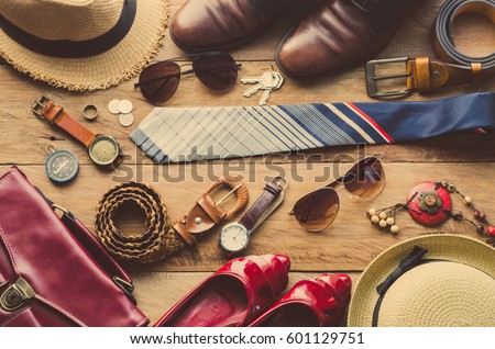 Clothing and accessories for men and women ready for travel - life style  #601129751