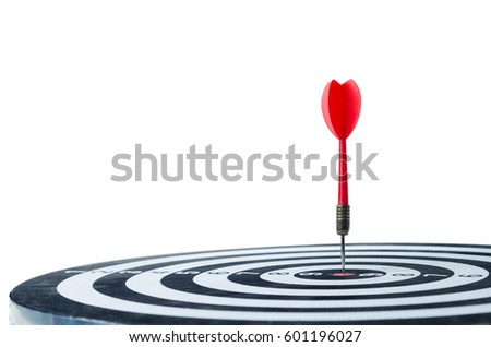 Close up shot red dart arrow on center of dartboard, metaphor to target success, winner concept, Isolated on white background with clipping path #601196027