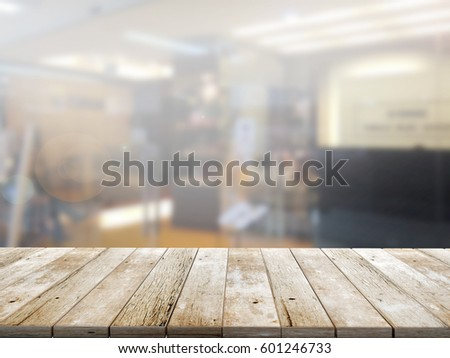 closeup top wood table with Blur Background #601246733