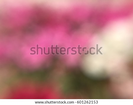 Abstract defocused and blurred bokeh background of colorful flowers. #601262153