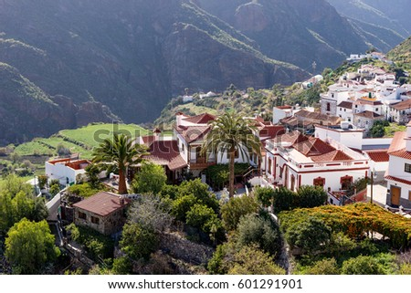 Tejeda, beautiful village in the mountains of Gran Canaria Royalty-Free Stock Photo #601291901