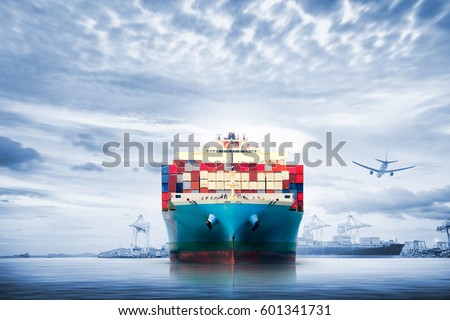 Logistics and transportation of International Container Cargo ship and cargo plane in the ocean at twilight sky, Freight Transportation, Shipping Royalty-Free Stock Photo #601341731