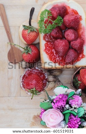 Strawberry jam with slice of bread delicious #601519031