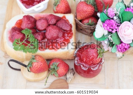 Strawberry jam with slice of bread delicious #601519034
