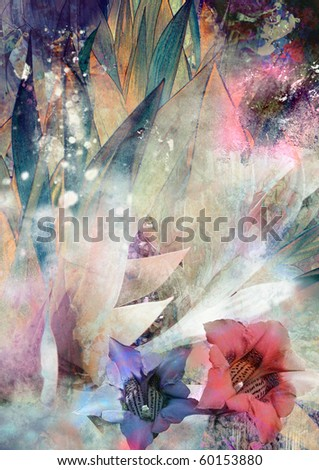 romantic background with flowers gentian and grass