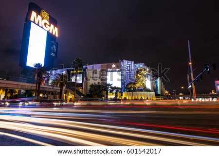 LAS VEGAS, USA - December 22, 2016: Las Vegas Strip and MGM Grand Casino at night #601542017