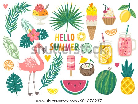 Set of cute summer icons: food, drinks, palm leaves, fruits and flamingo. Bright summertime poster. Collection of scrapbooking elements for beach party. Royalty-Free Stock Photo #601676237