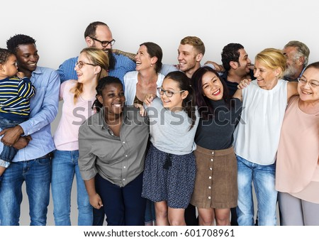 Diverse Group of People Together Studio Portrait Royalty-Free Stock Photo #601708961