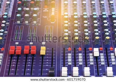 Mixer level control knob in the control room and sound recorder. #601759070