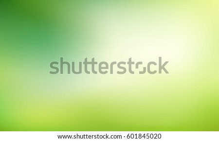 Nature gradient backdrop with bright sunlight. Abstract green blurred background. Ecology concept for your graphic design, banner or poster. Vector illustration. Royalty-Free Stock Photo #601845020
