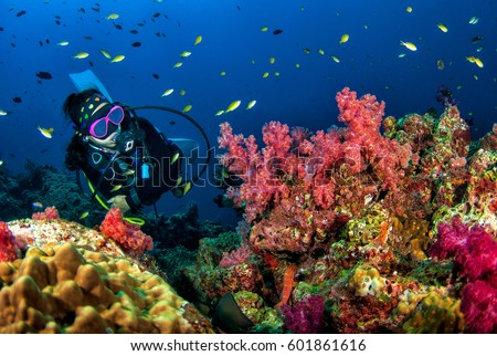 Young woman scuba diving on a beautiful soft coral reef in South Andaman, Thailand Royalty-Free Stock Photo #601861616