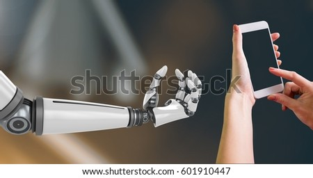 Digital Composite Image of Robotic and Human Hand with phone Interact against dark background #601910447