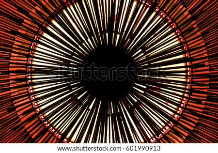 Geometric circle abstract photography, red white black background.