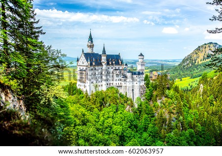 Castle Neuschwanstein fairy landscape #602063957