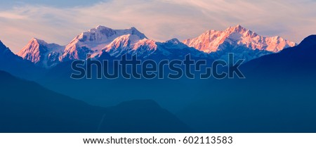 Kangchenjunga sunset view from the Pelling viewpoint in West Sikkim, India #602113583