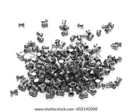 Pile lead pellets for air rifle isolated on white #602142008