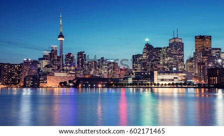 Night Skyline of Toronto, Ontario, Canada. The view from Cherry Street.