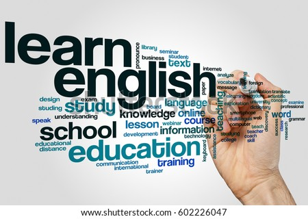 Learn english word cloud concept on grey background Royalty-Free Stock Photo #602226047