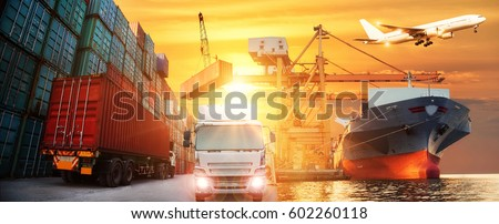 Logistics and transportation of Container Cargo ship and Cargo plane with working crane bridge in shipyard at Sunrise, logistic import export and transport industry background #602260118