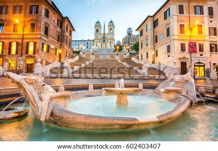 ROME, ITALY. OCTOBER 20, 2016: famous spanish square of Rome at morning #602403407