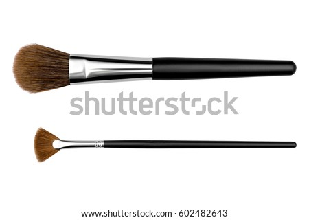 Cosmetic makeup brush, isolated on a white background. #602482643
