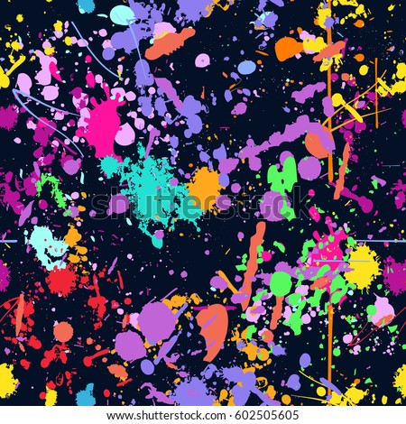 Abstract color splash, seamless pattern.  (NO TRANSPARENCY) Spray paint on a dark background.