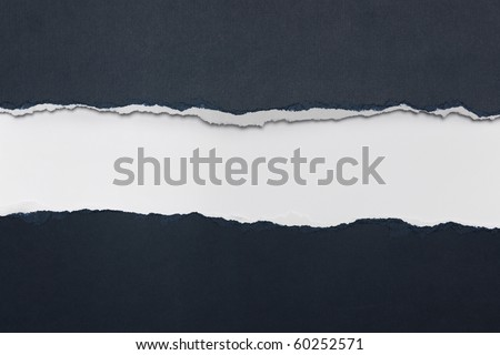 Rip Blue Paper and white background with space for text Royalty-Free Stock Photo #60252571
