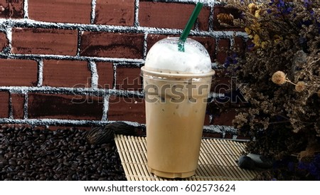 Ice cappuccino with milk. Aroma and flavor coffee beverage. #602573624