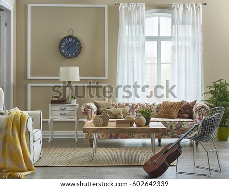 Living room flower pattern sofa with frame wall decoration, large window and interior design #602642339