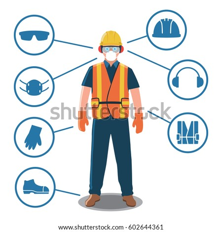 Worker with Personal Protective Equipment and Safety Icons Royalty-Free Stock Photo #602644361