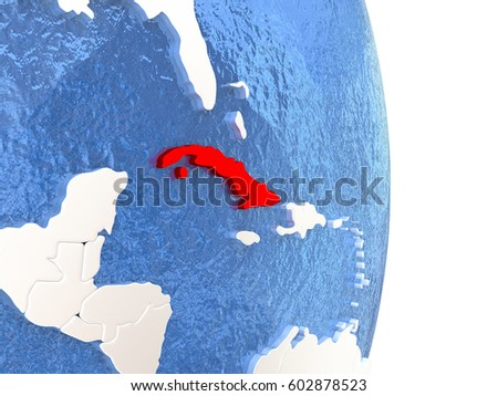 Cuba on globe with realistic blue water and shiny metallic continents. 3D illustration #602878523