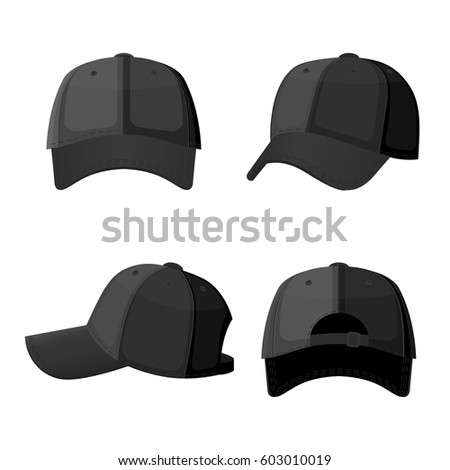 Baseball caps in front side and back view isolated on white background. Stylish sportive headwear, athlet accessory which protects head from sun, vector illustration in flat style design #603010019