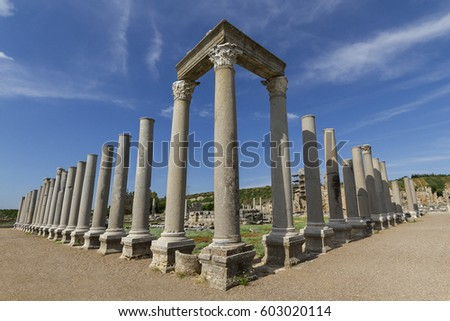Ruins of the roman site of Perge, Antalya, Turkey #603020114