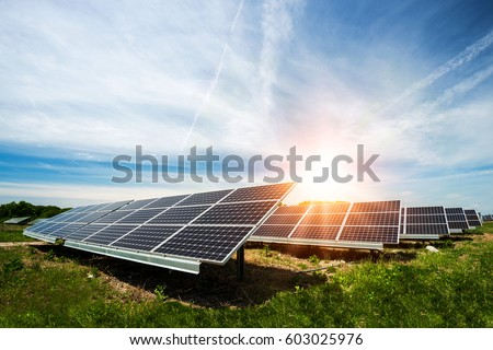 Solar panel, photovoltaic, alternative electricity source - concept of sustainable resources Royalty-Free Stock Photo #603025976