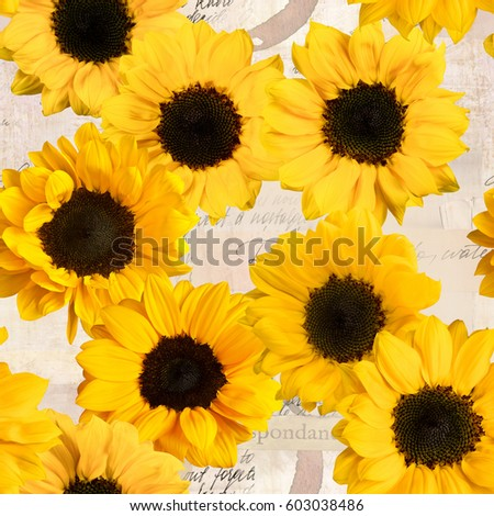 Seamless sunflowers pattern on vintage style collage with fragments of letters and old paper textures #603038486